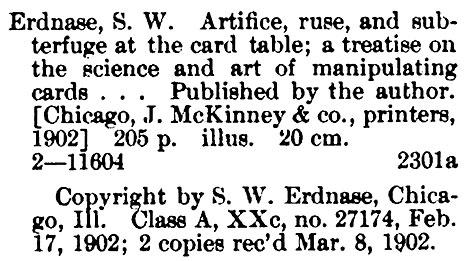 From the Catalog of Title Entries of Books, Library of Congress (Second Quarter, 1902)