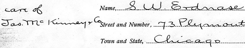 Handwriting on the TEATCT copyright application form (February 15, 1902)