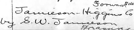 Samuel W. Jamieson's handwriting from the Jamieson-Higgins bankruptcy files (February 13, 1903)